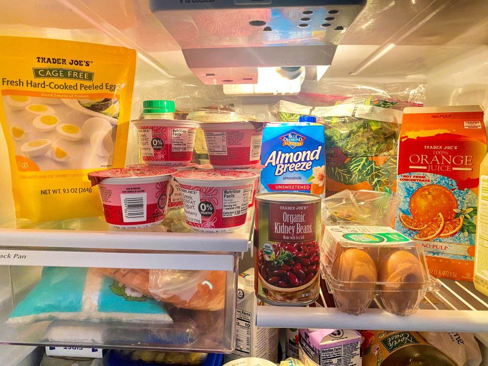 Trader Joe's, poultry, salads, seafood, snacks, beverages, fruit, vegetables